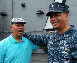 Joseph Borja reunites with his younger brother Ivan Borja who is serving on the USS George Washington.