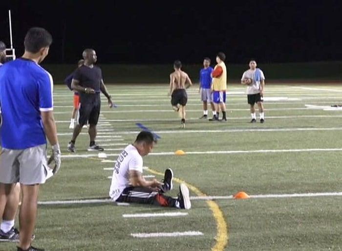Elite Prep Football Stars Workout At College Showcase Camp