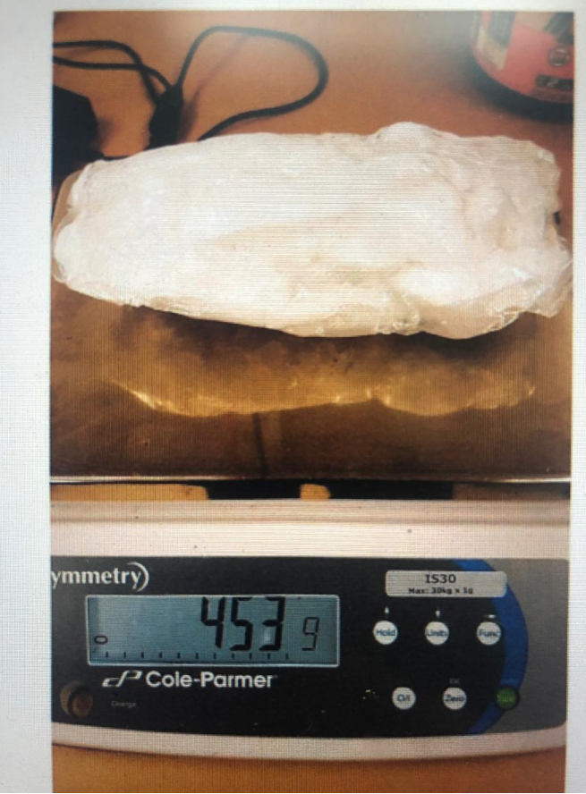 District Court of Guam files show a substance postive for methamphetamine weighing 453 grams. The substance was mailed to Guam and confiscated.