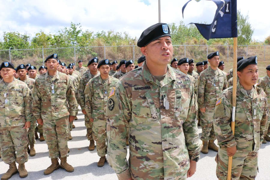 Guam Army National Guard's 1st-294th Infantry Regiment soldiers during a Sendoff Ceremony on Saturday, May 11, at the Guard's Readiness Center in Barrigada. The Soldiers are part of a deployment in support of a peacekeeping mission in the Sinai.