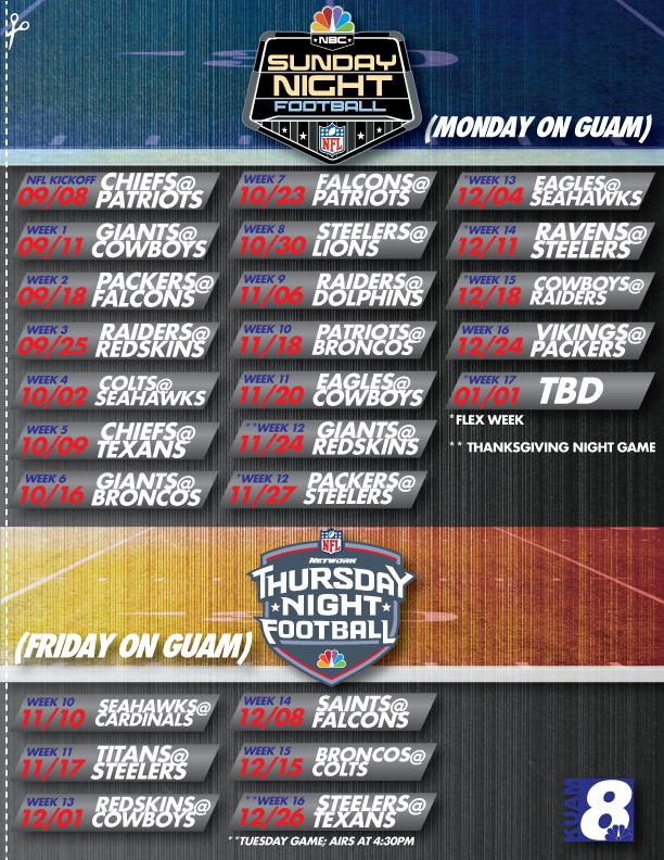 Get your 2017-2018 NFL schedule for KUAM here! - KUAM.com ...