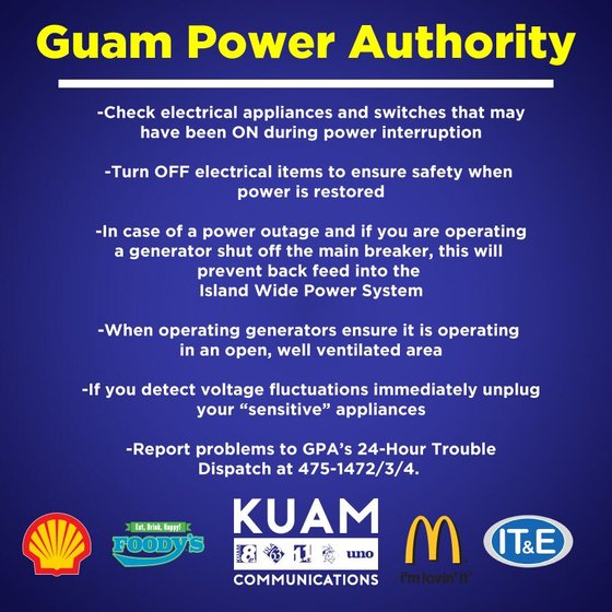 Power outages reported, restored - KUAM com-KUAM News: On Air